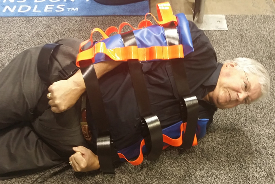 A Binder Lift can be used as a safe way to physically constrain a combative patient.