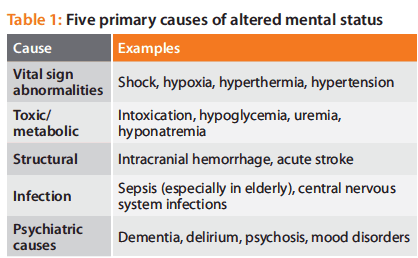 Primary causes of altered mental status