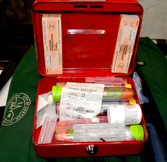 Boston BLS amublance crews carry naloxone and mucosal atomization devices in locked cases along with other approved medications.