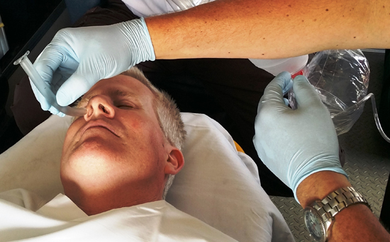 A nasopharyngeal airway helps ensure an open airway during BVM use.