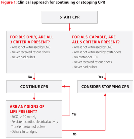 2015 AHA Guidelines approach to continuing or stopping CPR