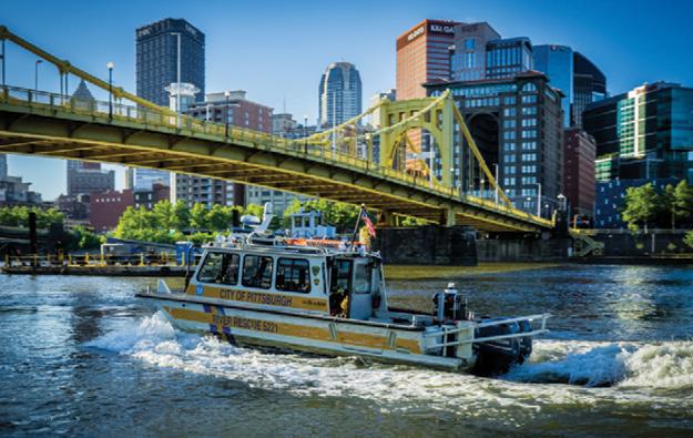 Pittsburgh River Rescue SeaArk 5221 on the water. Photo courtesy Simon Taxel