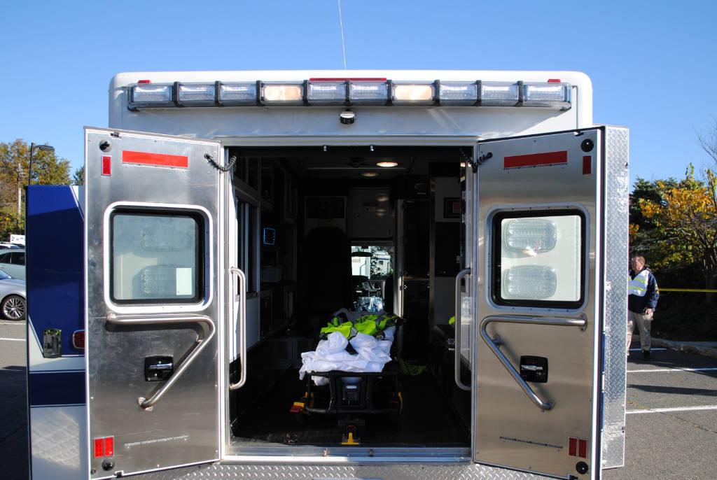 The back of an ambulance.