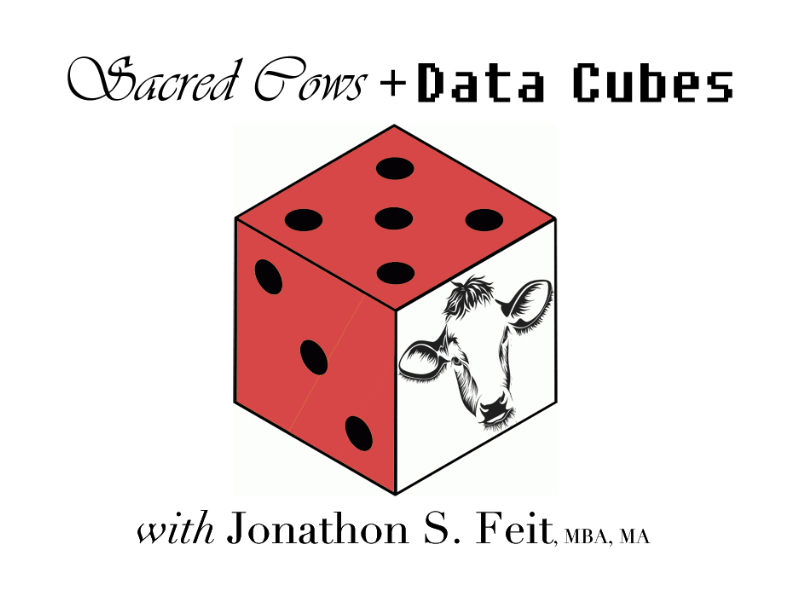 The image shows the podcast's logo, a die with a cow on it.