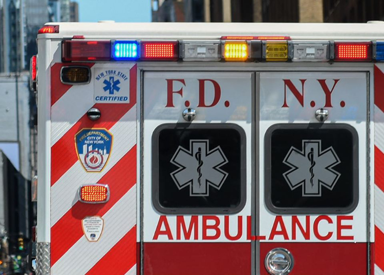 The photo shows the top half of an FDNY ambulance.