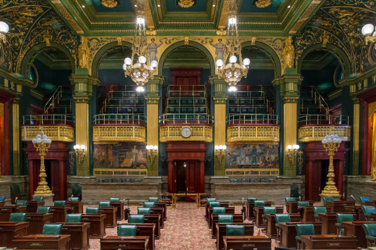 The photo shows the chambers of the Pennsylvania General Assembly.