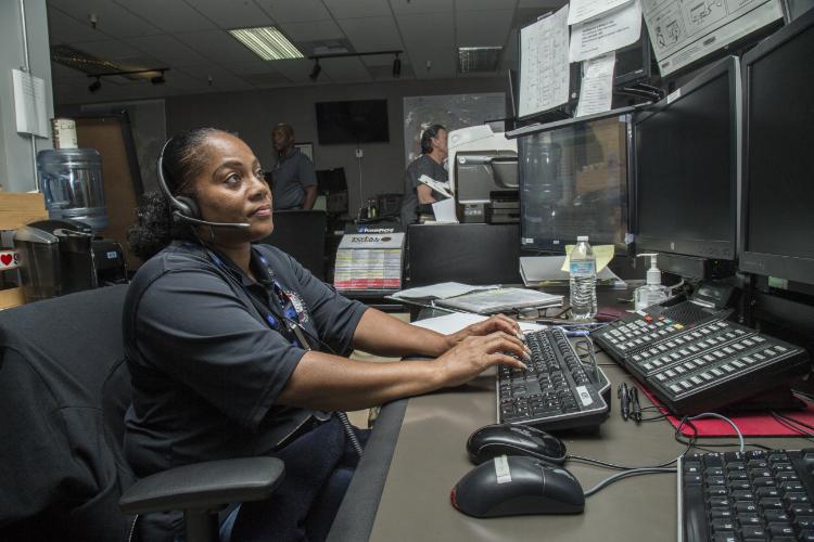 A dispatcher responds to a call.