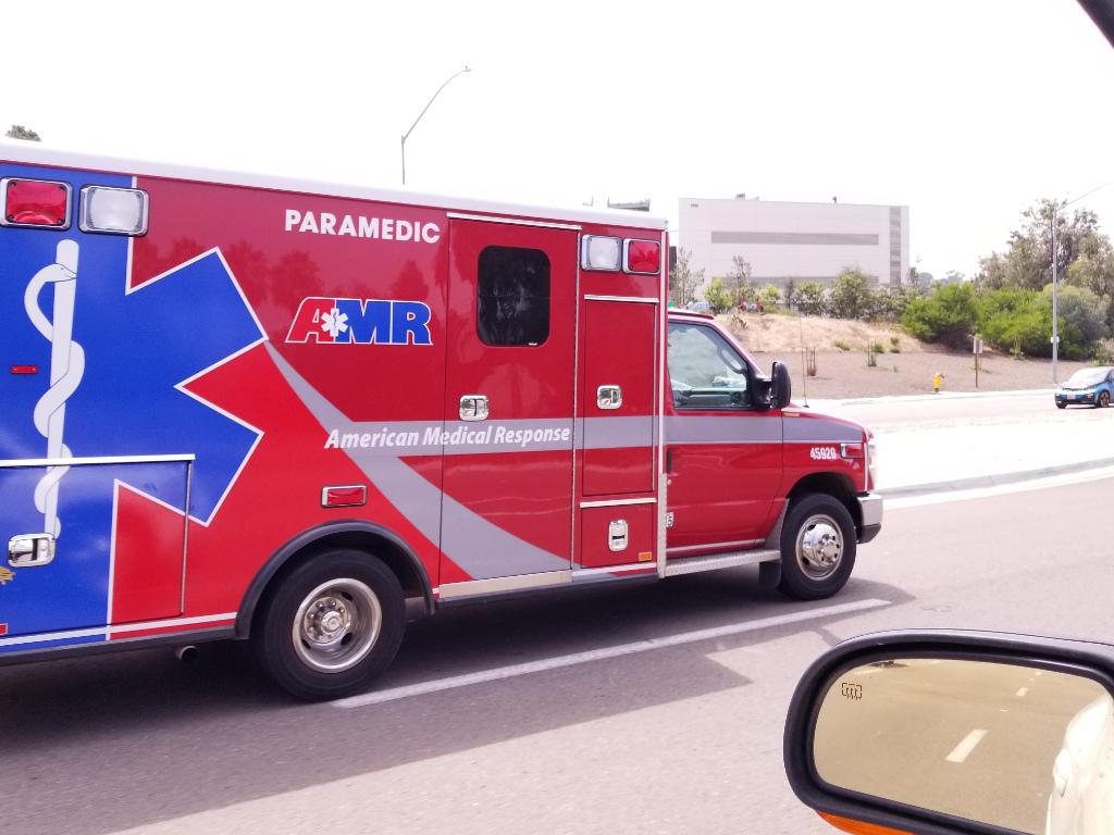The photo shows an AMR ambulance.