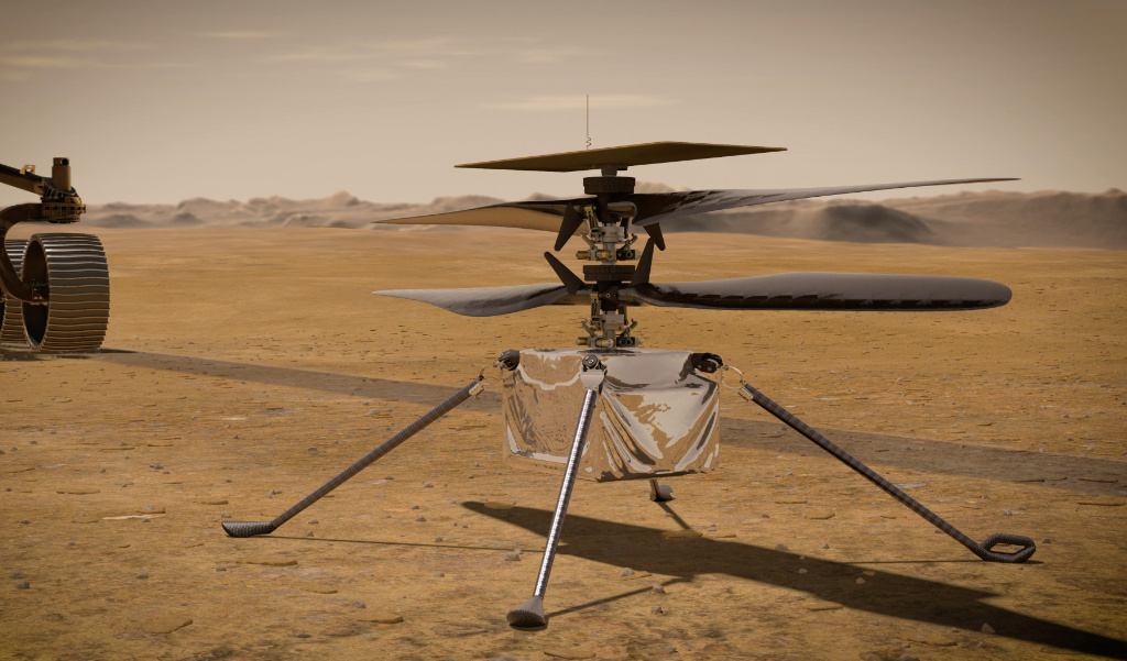 An artist's concept of the Ingenuity Mars Helicopter on the Martian surface.