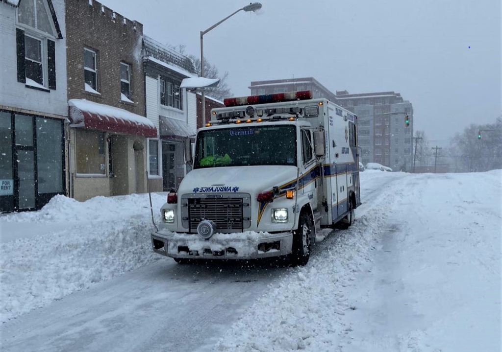 A Teaneck Volunteer Ambulance Corps ambulance in the snow.