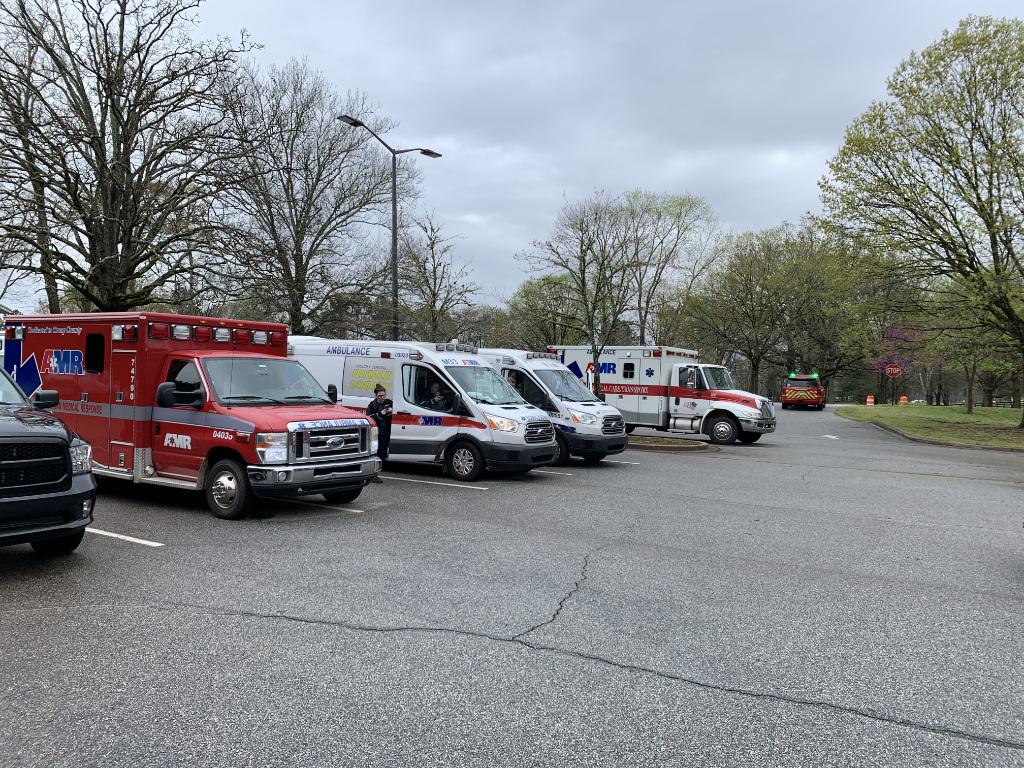 Ambulances lined up