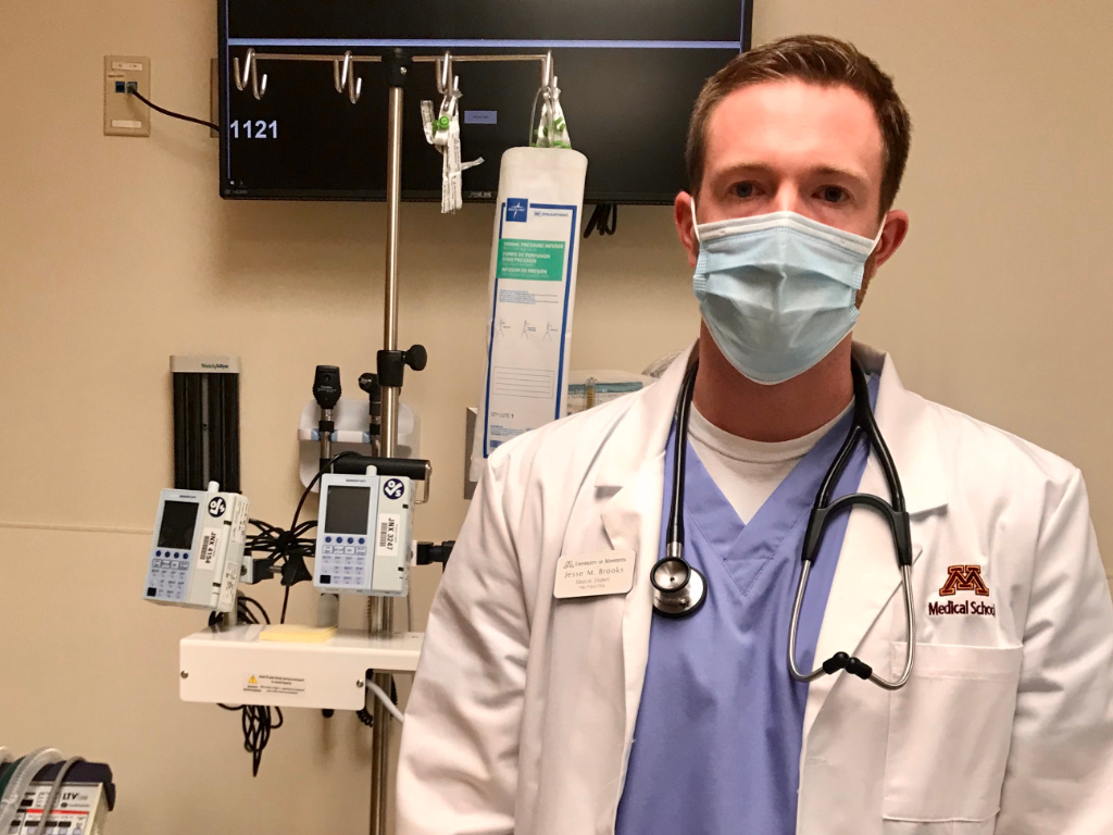 Jesse Brooks, medical student, in the emergency department at Olivia, MN.