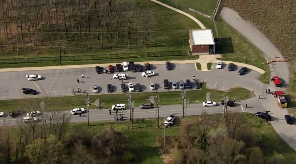 Police respond to the scene of a shooting in in Frederick, Md., on Tuesday, April 6, 2021.