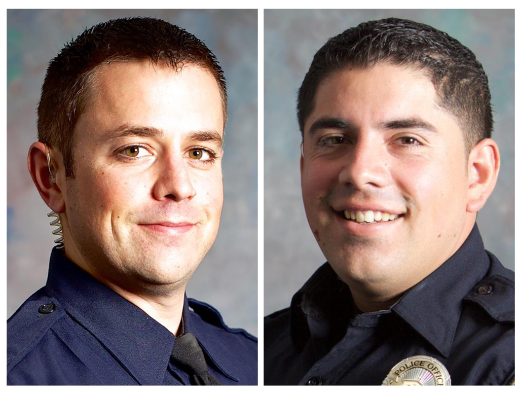 This combo of undated photos provided by the San Luis Obispo, Calif., Police Department shows San Luis Obispo Police Det. Luca Benedetti, left, and Det. Steve Orozco. Benedetti was shot and killed while serving a search warrant, Monday, May 10, 2021, in a shootout in the Central Coast city.