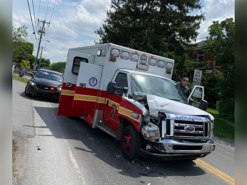 A crashed Reading Fire Department ambulance.
