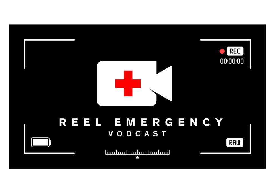 The image shows the Reel Emergency Vodcast logo, a white movie camera with a red cross on a black background.