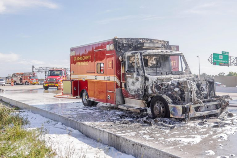 No Injuries After Ambulance Ignites on I-295 in FL