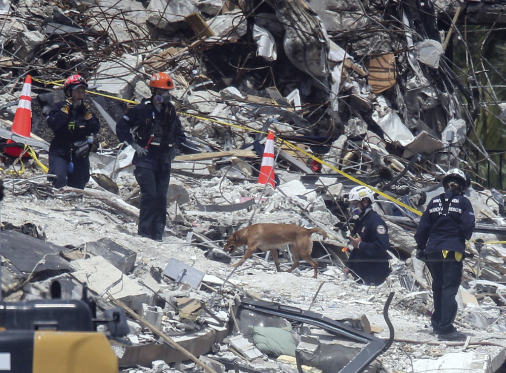 Search and rescue teams look for survivors at the Champlain Towers South residential condo, Tuesday, June 29, 2021, in Surfside, Fla.