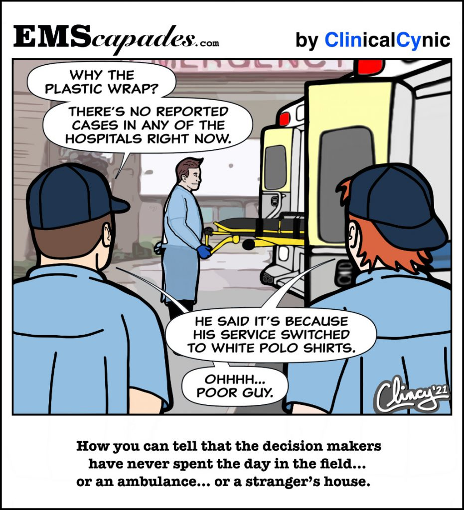 The drawing shows an EMS provider unloading a stretcher while wearing PPE.