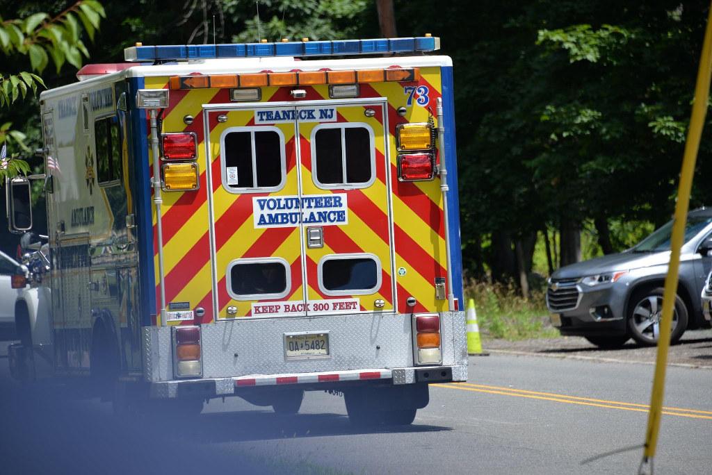 The back of a Teaneck Volunteer Ambulance Corps ambulance.