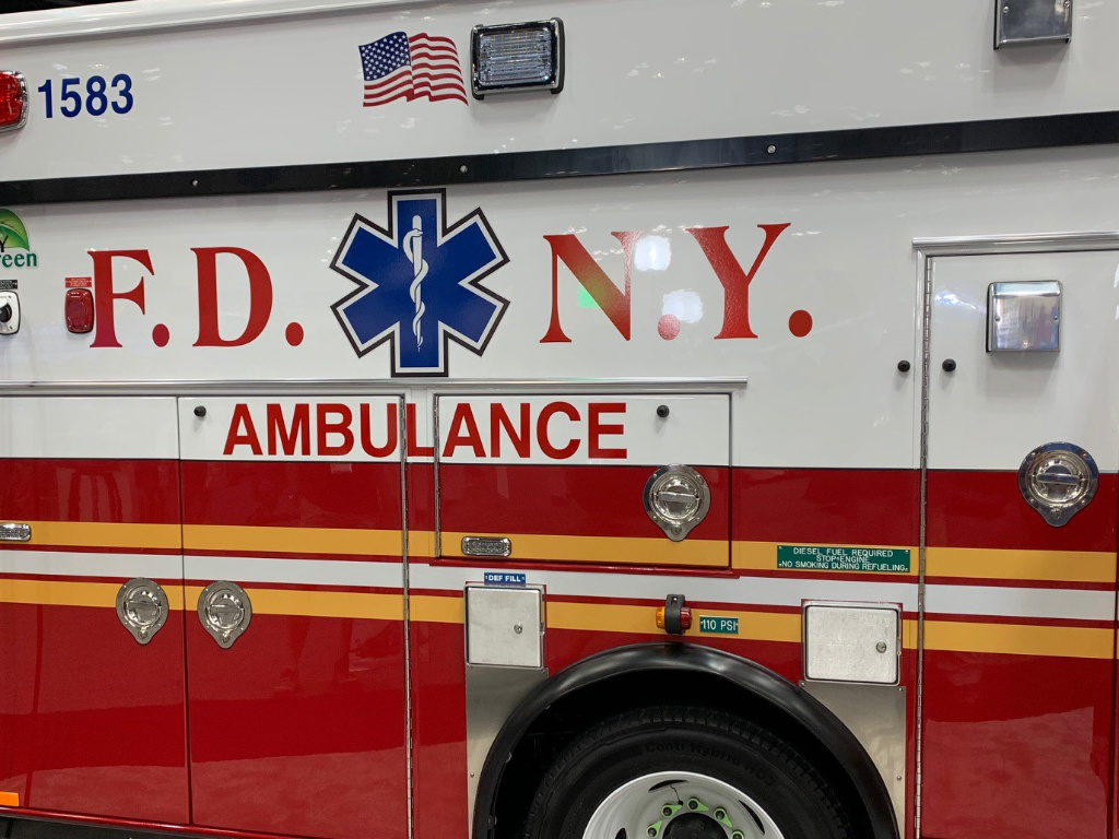 The photo shows the side of an FDNY ambulance.
