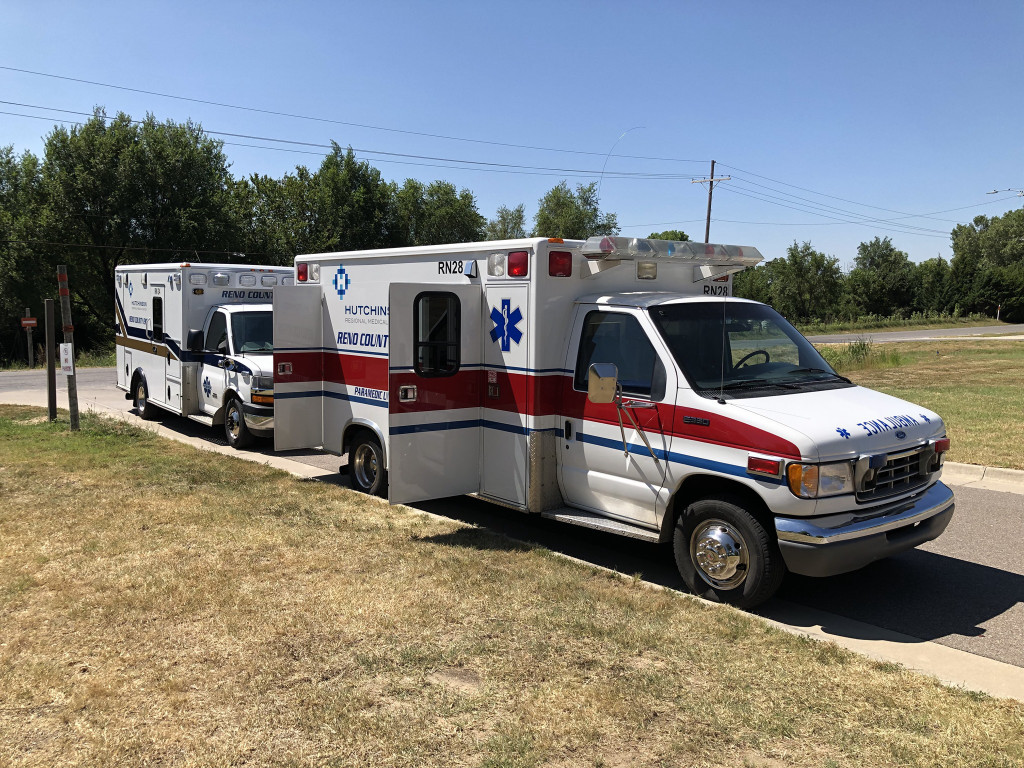 Two Reno County EMS ambulances lined up.