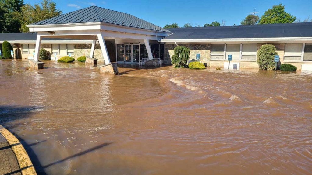 Flooded medical facility in Somerset, New Jersey